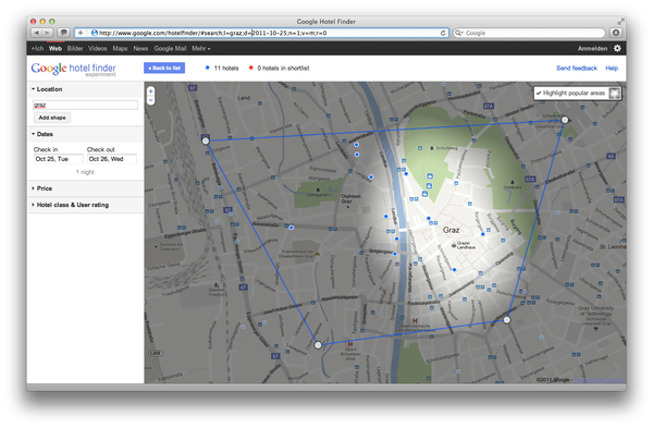 Google Hotel Finder Graz popular Areas