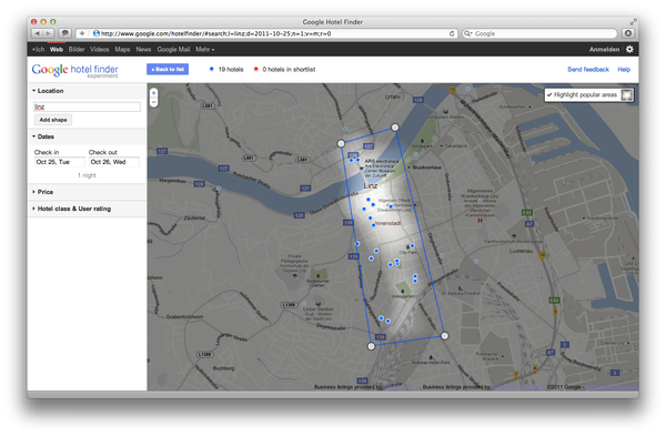 Google Hotel Finder Linz popular Areas