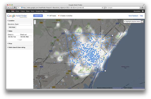 Google Hotel Finder Barcelona popular Areas