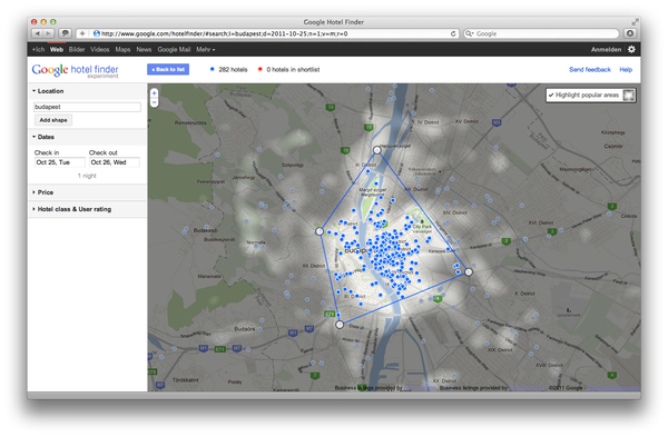 Google Hotel Finder Budapest popular Areas
