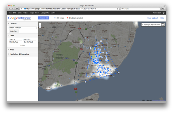 Google Hotel Finder Lissabon popular Areas