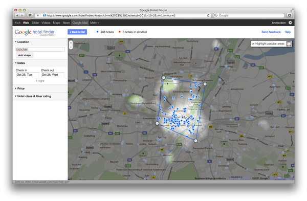 Google Hotel Finder München / Munich popular Areas