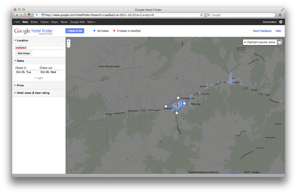 Google Hotel Finder Saalbach Hinterglemm popular Areas