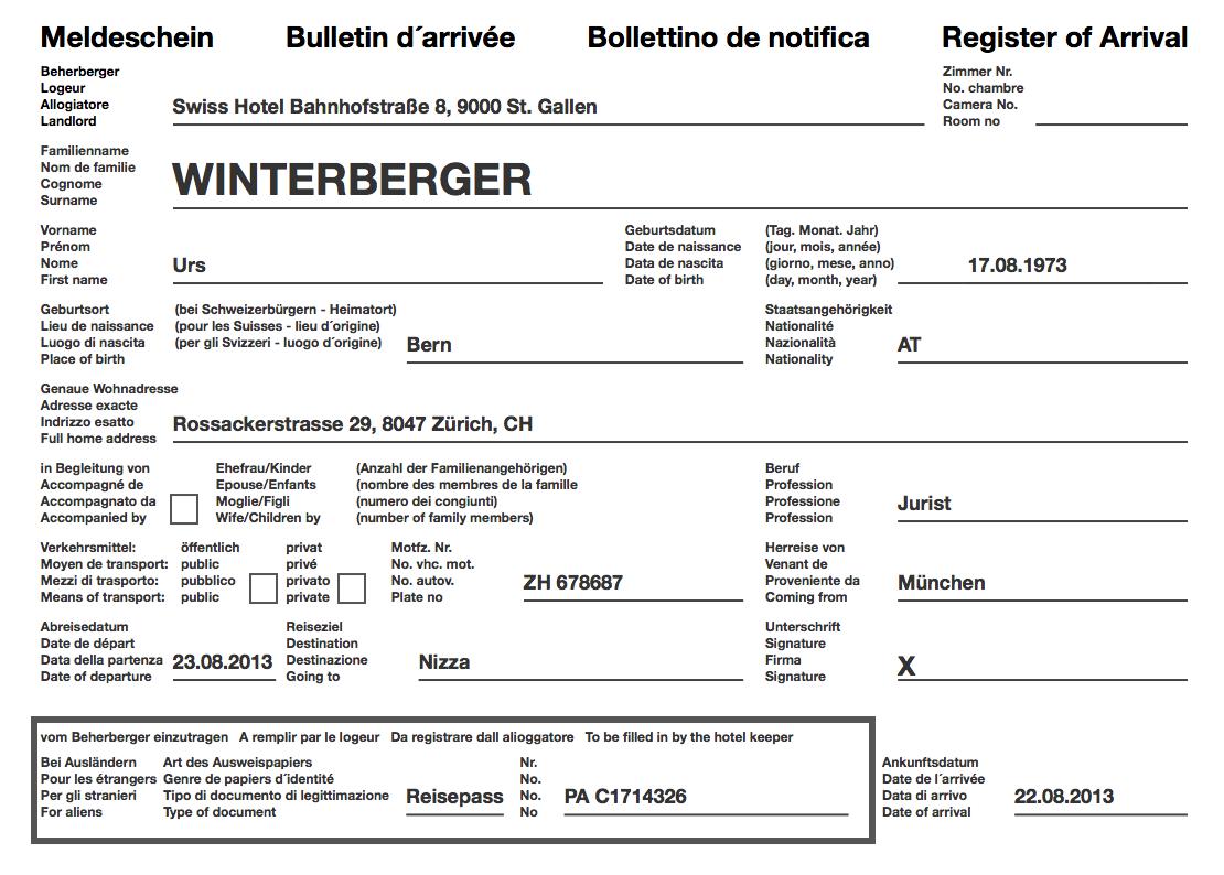 Der Schweizer Meldeschein Online Erfassen Pdf Drucken