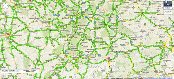 Samstag Urlauber Schichtwechsel Stau Karte aus Google Maps vor dem Beginn der Herbstferien 2011 in Deutschland #stau #verkehrsinfo