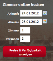 igumbi Online Buchungstool Einstieg in rot / Hotel IBE Start / online  Website Buchungssystem #buchungssystem