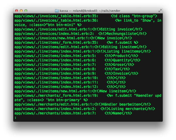 use grep to help to find the i18n lines in app/views erb files