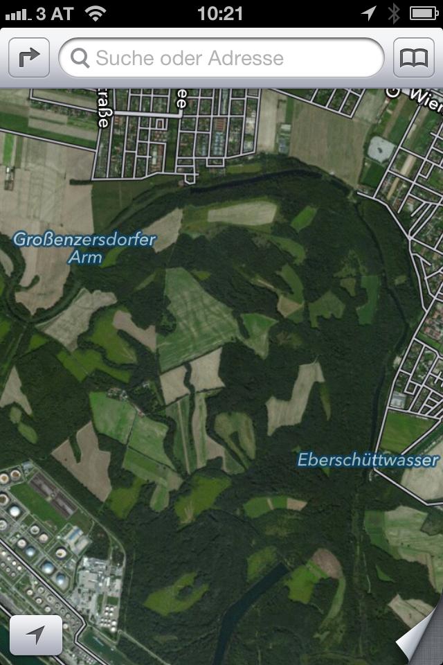 iOS6 Maps von Apple auf iPhone 4 - Lobau Wien