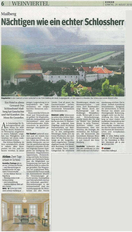 Schloss Mailberg im Reiseteil Kurier vom 29.10.2010, gescannter Artikel