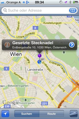 Geodaten Stecknadel setzen in Google Maps am iPhone