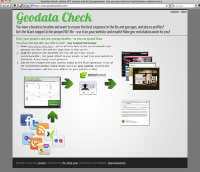 Geodatacheck.com: online VCF creator and hCard generator. Use on your hotel or local business website - brought to you by igumbi